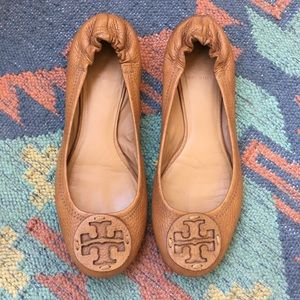 Tan Tory Burch Reva Flats Size 7